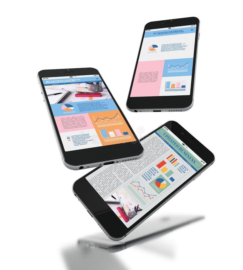Smartphones 3d mit differents beweglichem App intarface Entwurf auf Schirm vektor abbildung