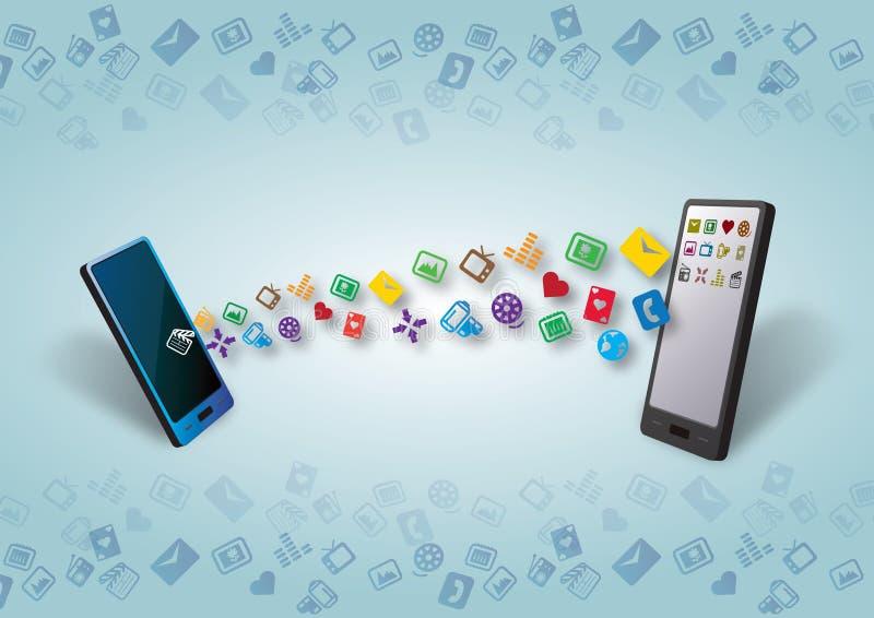 Smartphones dati di Cellulars e trasferimento del soddisfare illustrazione vettoriale