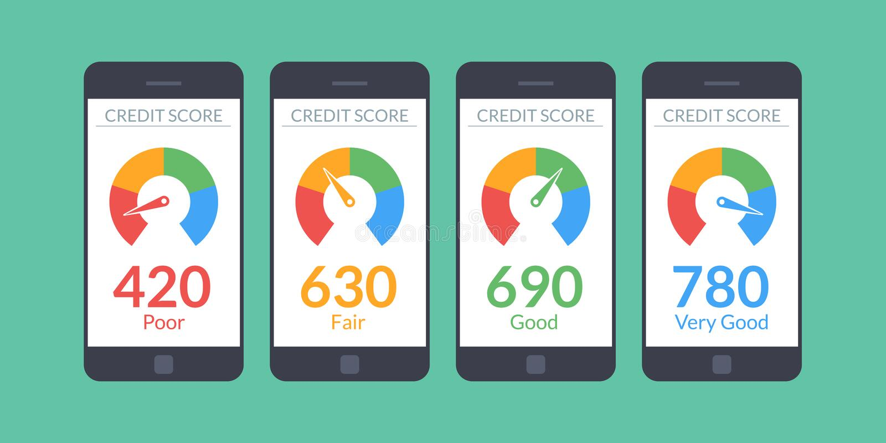 Smartphones de la colección con la cuenta de crédito app en la pantalla en estilo plano Información financiera sobre el cliente V stock de ilustración