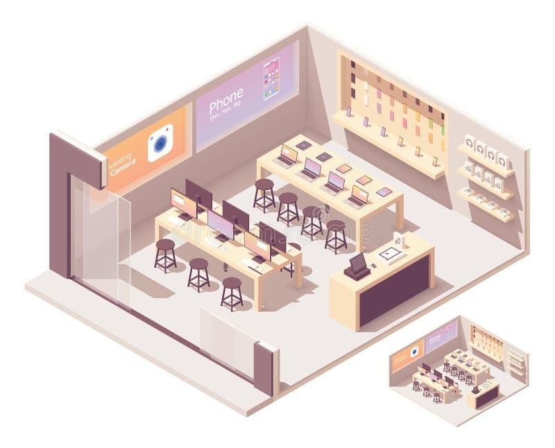 Smartphones de vecteur et boutique informatique isométriques illustration libre de droits