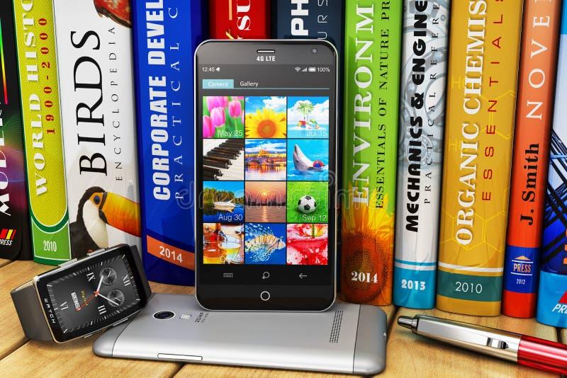 Smartphones en smartwatch op boekenrek royalty-vrije illustratie