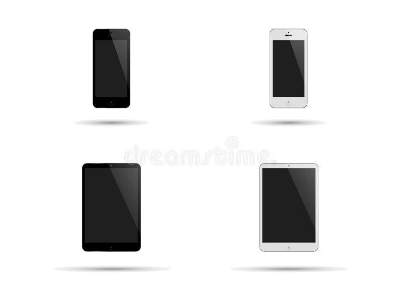 Smartphones en tablet-PC in Zwart-wit stock afbeelding
