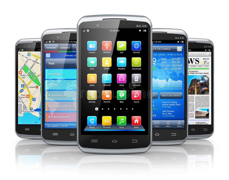 Smartphones en toepassingen vector illustratie