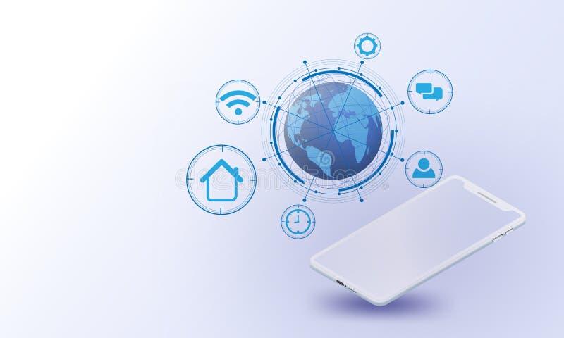 Smartphones, globalnej sieci Wektorowy futurystyczny, internet rzecz system, związków rzeczy internet, networking futurystyczny s royalty ilustracja