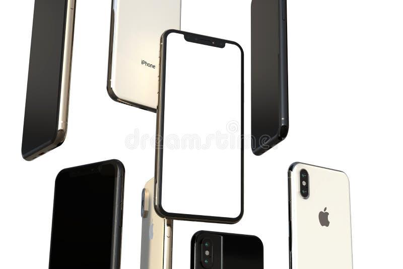 Smartphones grigi dell'oro, dell'argento e dello spazio di IPhone XS, galleggianti in aria, schermo bianco