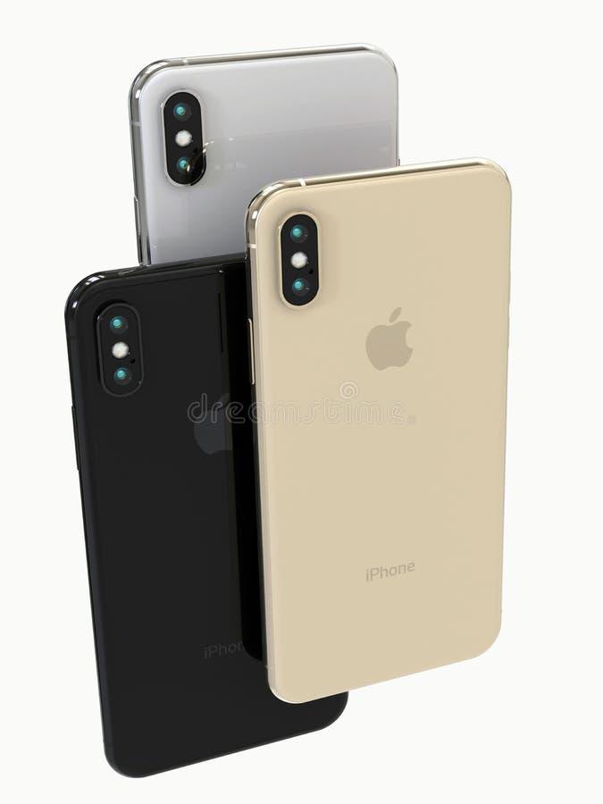 Smartphones gris d'or, d'argent et de l'espace d'IPhone XS, arrière images libres de droits