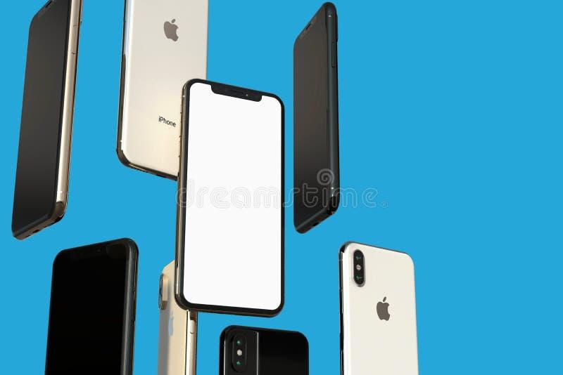 Smartphones grises del oro, de la plata y del espacio de IPhone XS, flotando en aire, pantalla blanca stock de ilustración