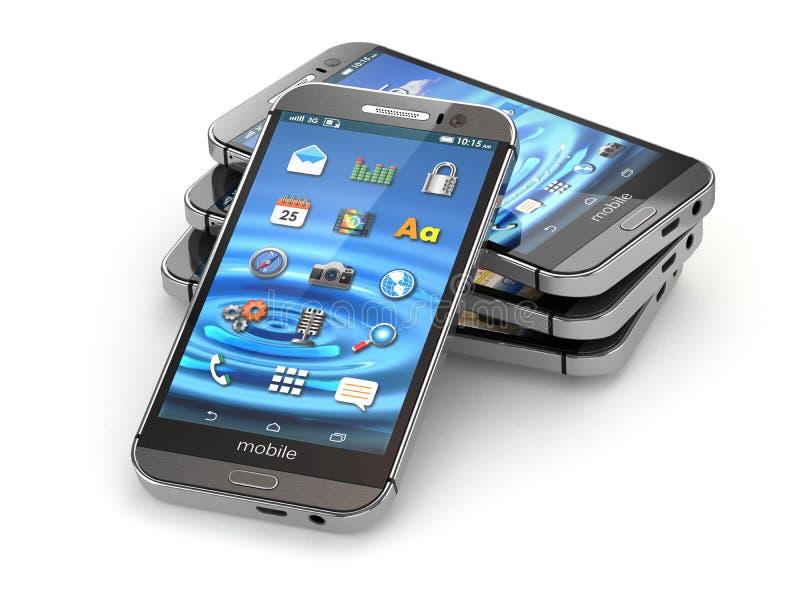 Smartphones lub telefony komórkowi na białym tle royalty ilustracja