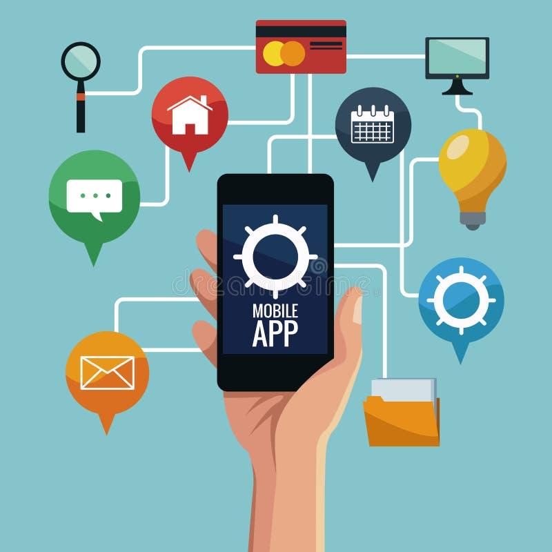 Smartphones móveis app ilustração royalty free