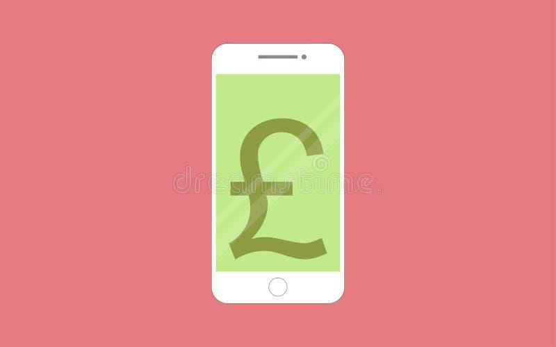 Smartphones med mobil packa ihop app på skärmen royaltyfri illustrationer