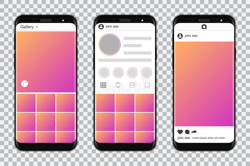 Smartphones met model sociaal media kader Vector illustratie royalty-vrije illustratie