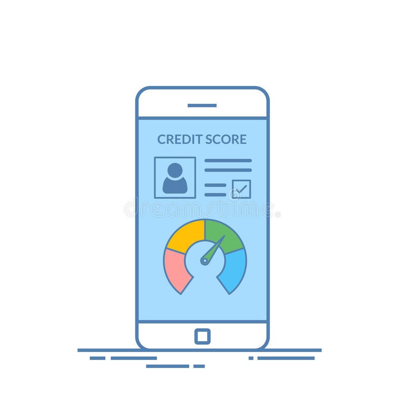Smartphones mit Kreditscore-APP auf dem Schirm in der Linie Art Finanzinformationen über den Kunden Vektor lizenzfreie abbildung