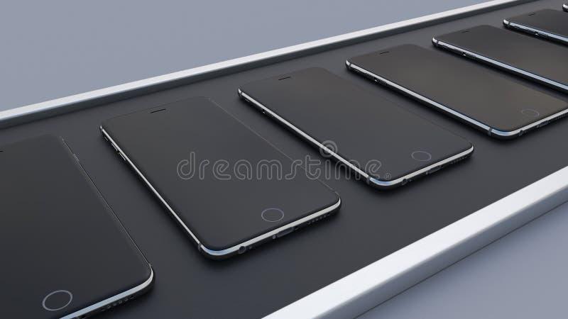 Smartphones moderni che passano il nastro trasportatore linea di produzione del telefono cellulare di Ciao-tecnologia rappresenta royalty illustrazione gratis