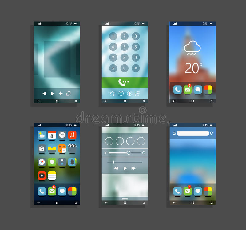 Smartphones modernos com as telas diferentes da aplicação ilustração stock