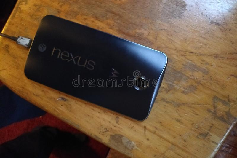 Smartphones. Motorola google nexus 6 32gb att midnight blue stock image