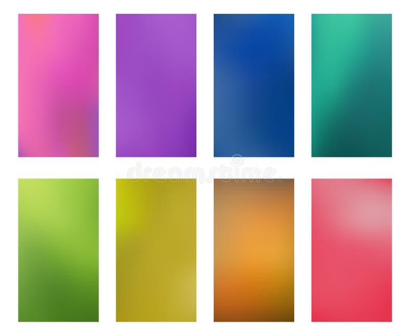 Smartphones multicolores abstractos brillantes s de los papeles pintados de la colección stock de ilustración