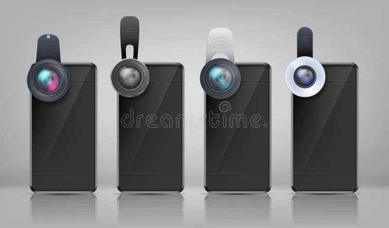 Smartphones noirs de vecteur avec les lentilles amovibles illustration libre de droits