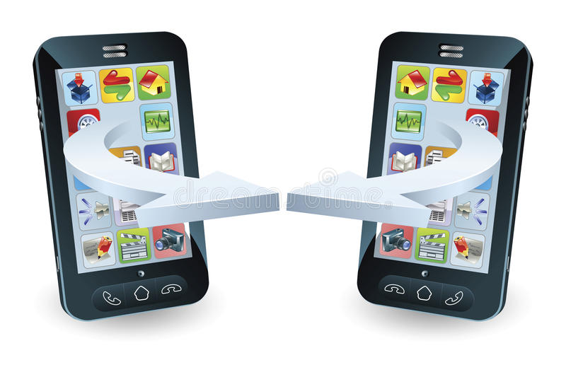 Smartphones que comunica-se ilustração royalty free