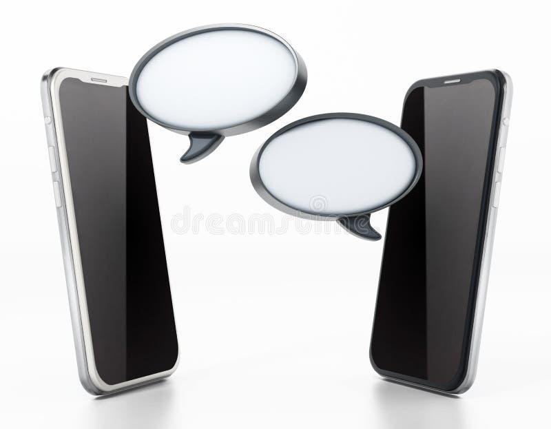 Smartphones que comunicam-se com os balões de discurso vazios ilustração 3D ilustração stock
