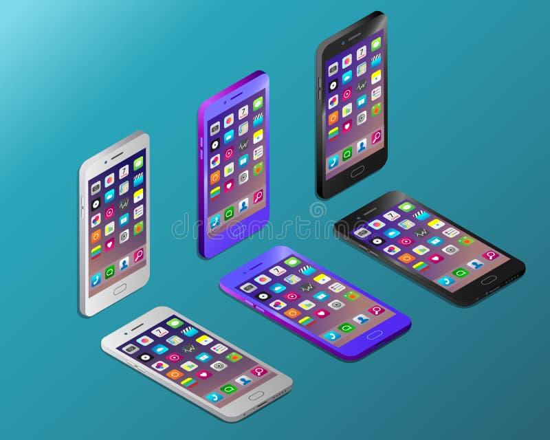 Smartphones realistas coloreados con las pantallas de trabajo en isometry stock de ilustración