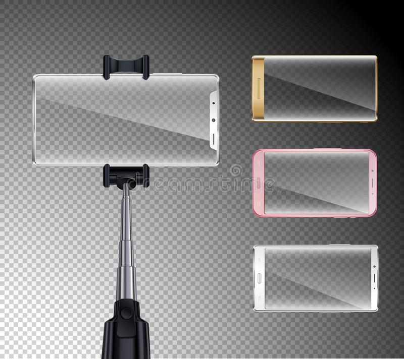 Smartphones Realistic Selfie Set vector illustration