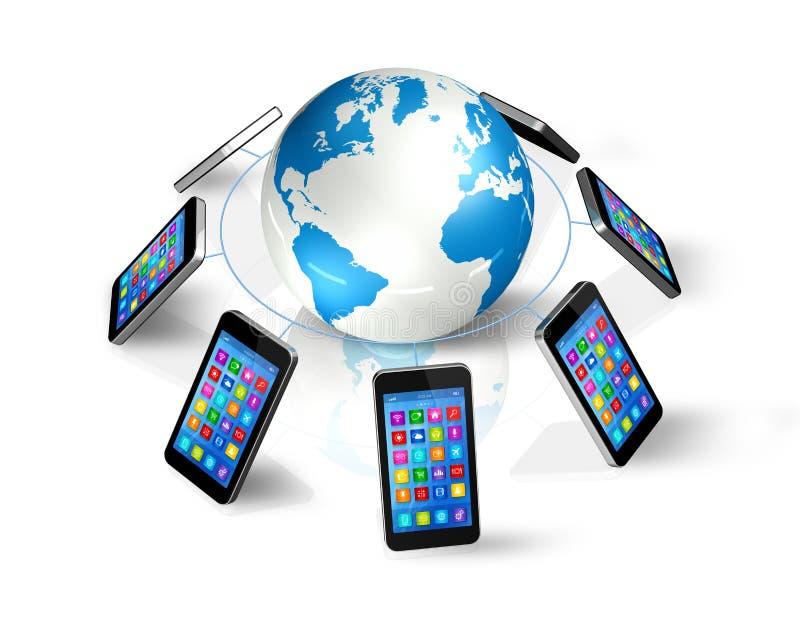 Smartphones rond Wereldbol, Globale Mededeling vector illustratie