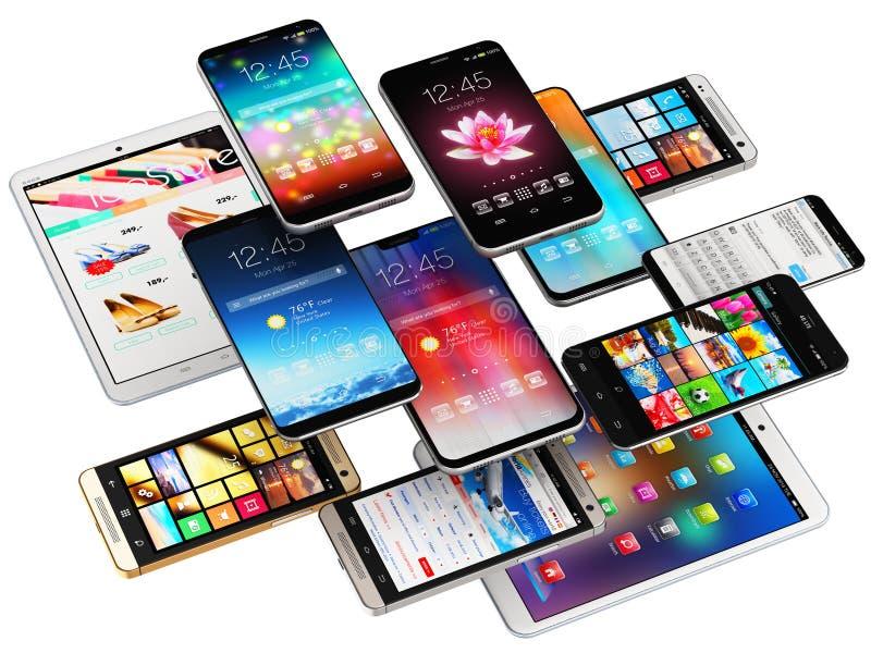 Smartphones, telefones celulares e tablet pc ilustração do vetor