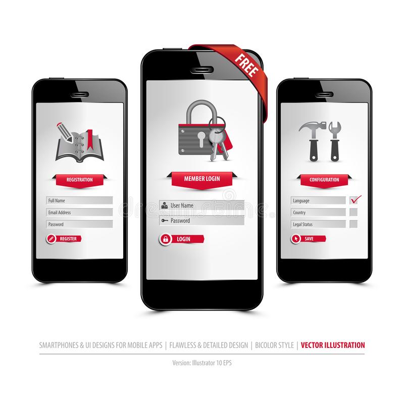 Smartphones and ui designs for mobile apps stock illustration