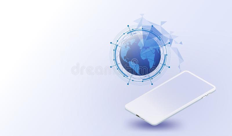 Smartphones, vector futurista, Internet de la red global del sistema de las cosas, Internet de las conexiones de las cosas, socia stock de ilustración