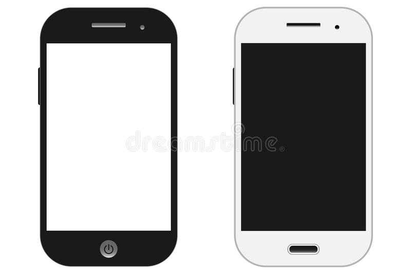 Smartphones vector mockup black and white. Can use for background frame / brochure object / web element / object for printing / stock illustration