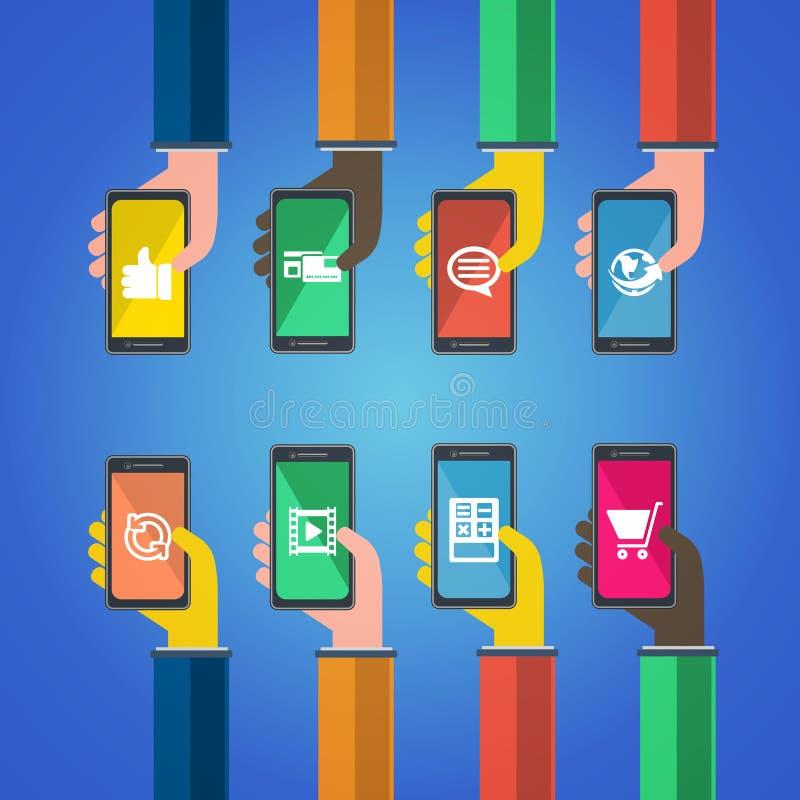 Smartphones w rękach Mobilny apps pojęcie ilustracja wektor