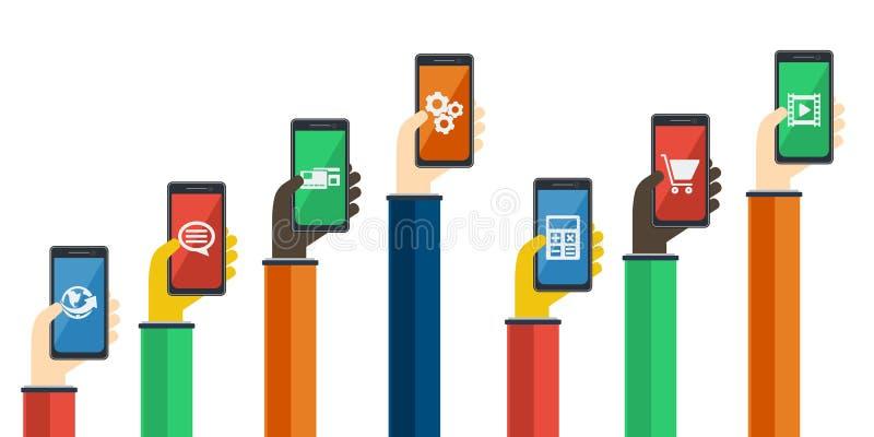 Smartphones w rękach Mobilny apps pojęcie wektor royalty ilustracja
