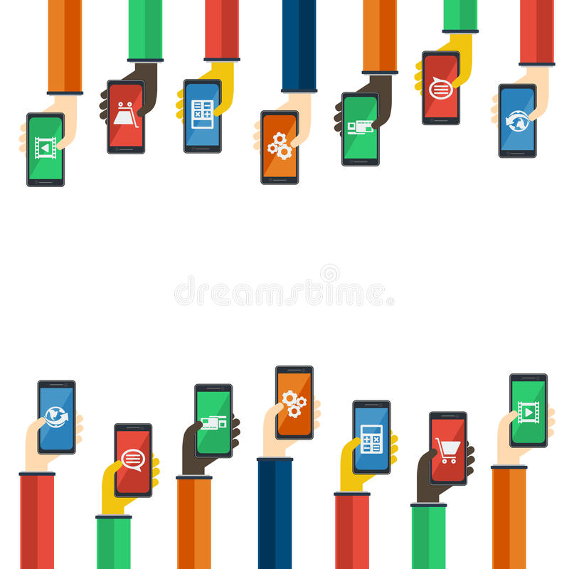 Smartphones w rękach Mobilny apps pojęcie wektor ilustracja wektor