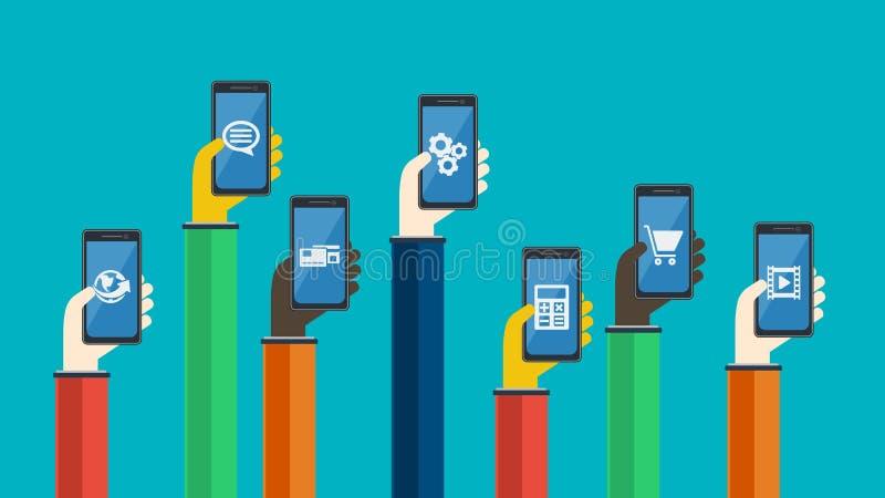 Smartphones w rękach również zwrócić corel ilustracji wektora ilustracja wektor