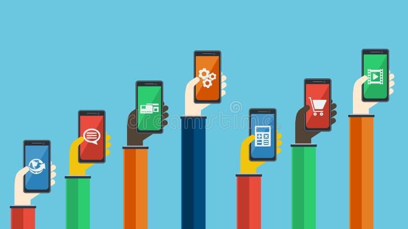 Smartphones w rękach również zwrócić corel ilustracji wektora ilustracji