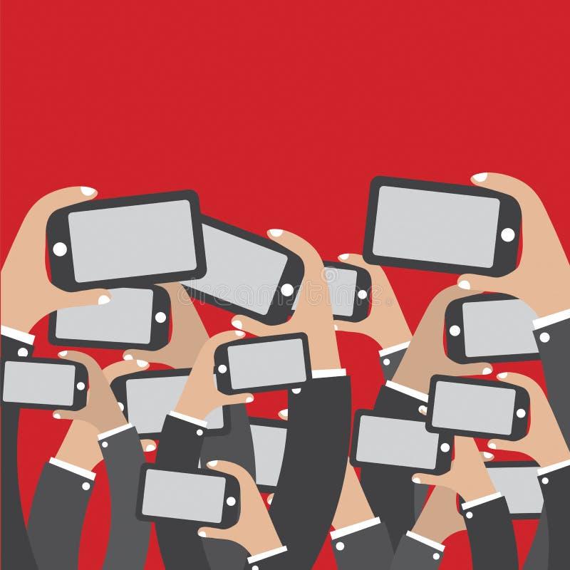 Smartphones W ręki sieci Ogólnospołecznym pojęciu ilustracji