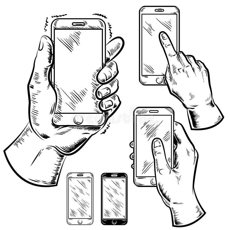 Smartphones y sistema del gráfico de las manos del varón ilustración del vector