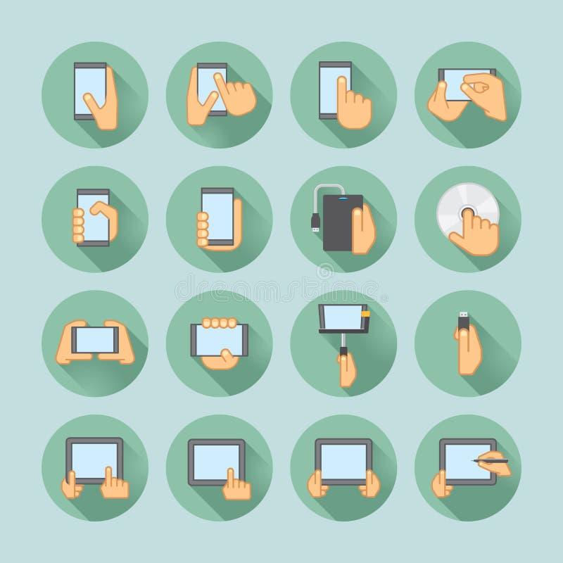 Smartphones y sistema del icono de las tabletas stock de ilustración