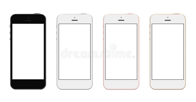 Smartphones z pustym ekranem w cztery kolorach royalty ilustracja