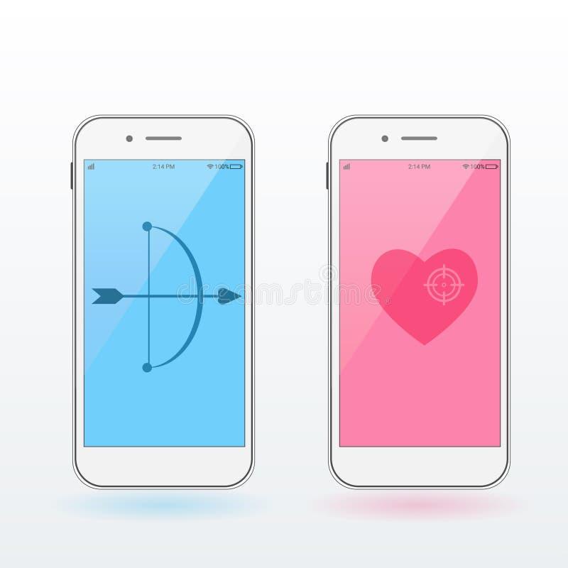 Smartphones z sercem, łękiem i strzała, celabrating pojęcie dobiera się dzień szczęśliwych całowania s valentine potomstwa Nowoży royalty ilustracja