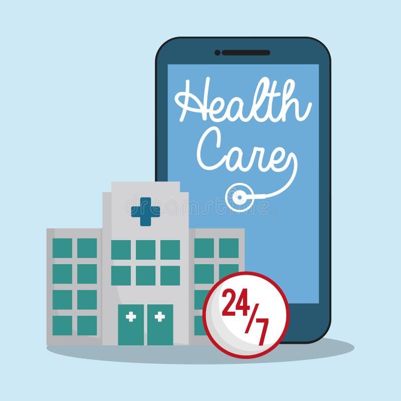 smartphonesjukhushälsovård 24-7 royaltyfri illustrationer