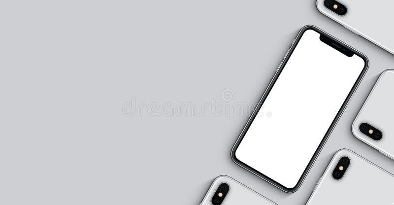 Smartphonesmodellbaner med kopieringsutrymme på grå bakgrund royaltyfria bilder