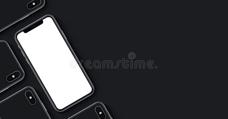 Smartphonesmodellbaner med kopieringsutrymme på svart bakgrund fotografering för bildbyråer