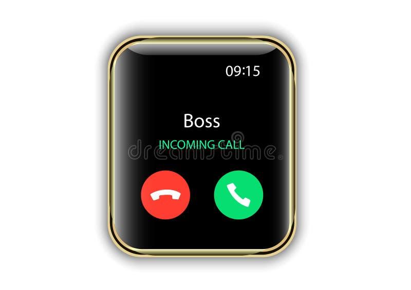 Smartwatch用户界面进来电话屏幕 向量例证