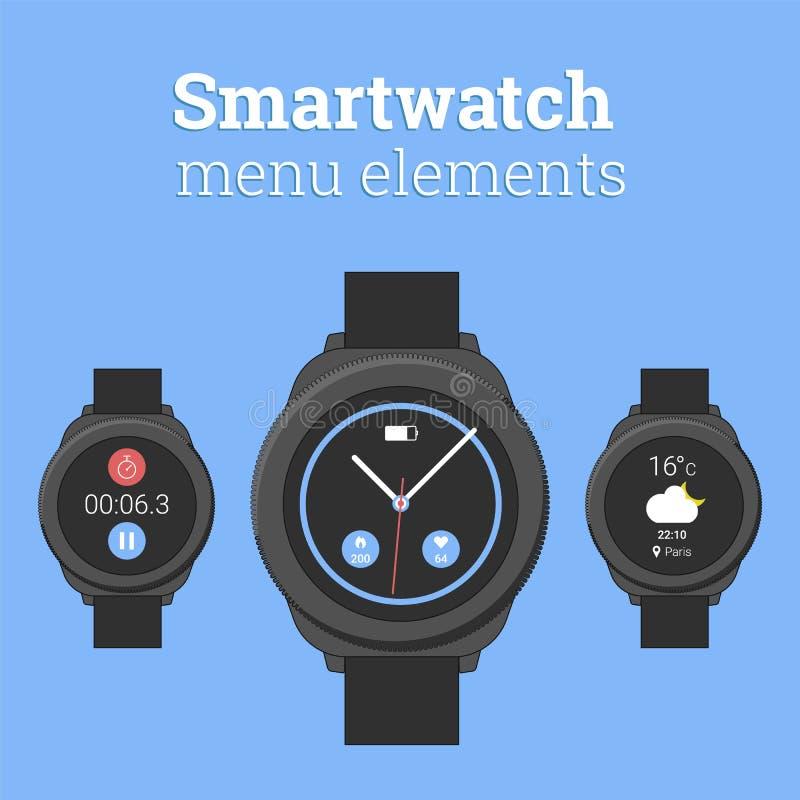 Smartwatch菜单元素 在圆的设计的现代smartwatch与天气预报和秒表象  菜单元素 库存例证