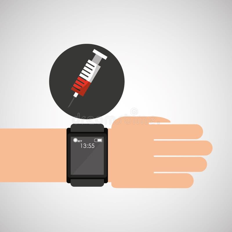 Smartwatch设备健康注射器 库存例证