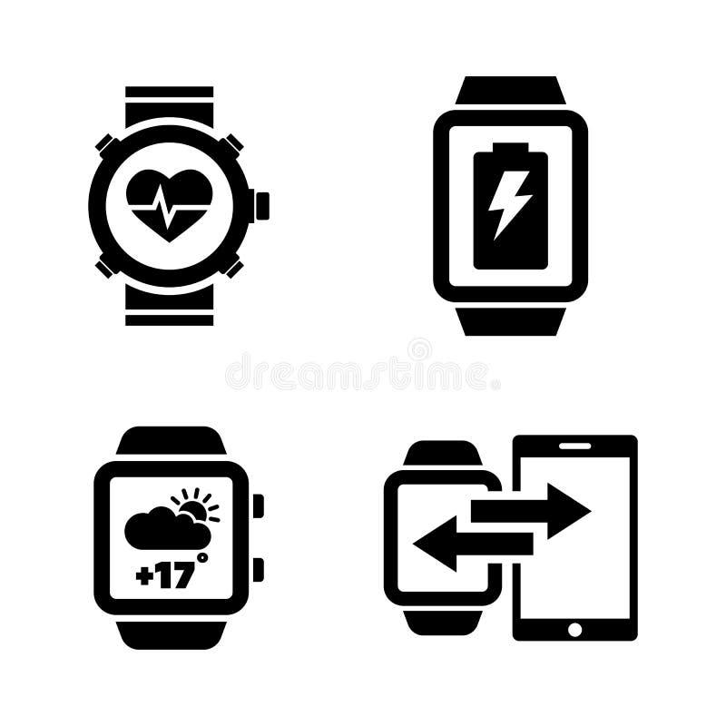 SmartWatch Ícones relacionados simples do vetor ilustração royalty free