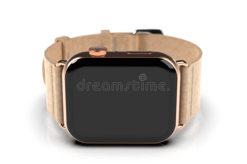 Smartwatch стиля дозора 4 Яблока, золото, черный экран иллюстрация штока