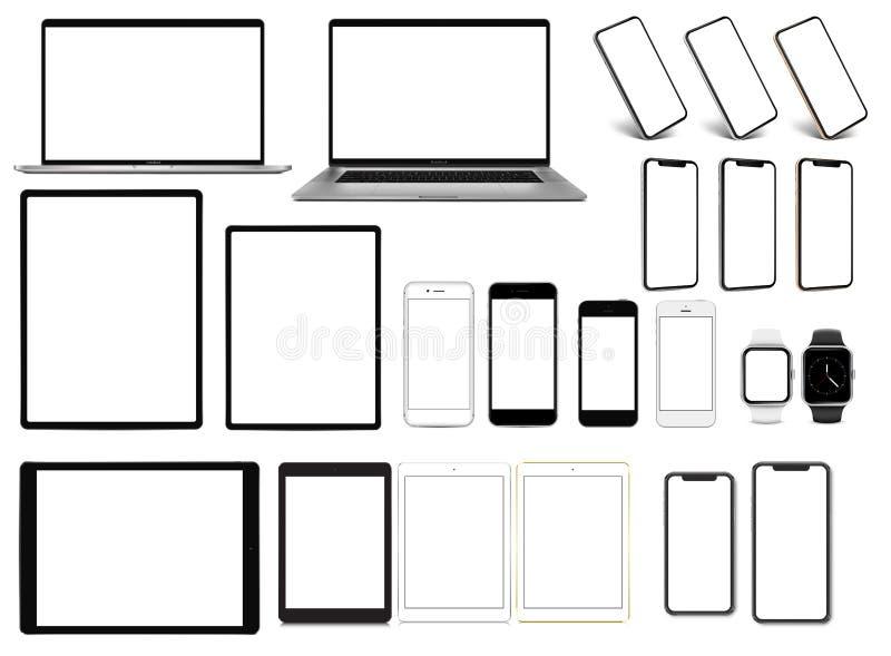 Smartwatch планшета смартфона ноутбука pro установило приборов с шаблоном пустого экрана иллюстрация штока