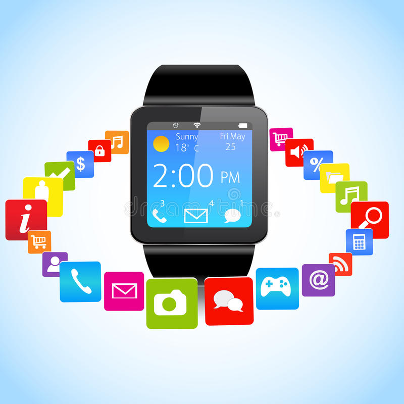 Smartwatch and Application Icons stock illustration